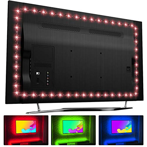 """Hamlite LED Strip Lights for TV 65 Inch TV Backlight 65 Inch Bias Lighting TV Light Strip Mood Ambient Lighting, 15ft Customized Length to Cover 4/4 Sides of 60-65"""" TVs, RF Remote, 18 Colors, 6 Modes"""