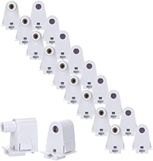 Brillihood 10 Pairs T8/T10/T12 Single Pin Slimline FA8 Tombstone Base LED Tube Light Replacement Fluorescent Plunger Lampholder Socket White