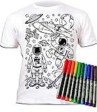 Splat Planet - Camiseta de Manga Corta para Hombre y Cohete Espacial con 6 bolígrafos mágicos Lavables no tóxicos Espacio 5-6 Años