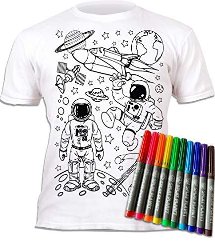 Splat Planet Colour-in Space Man and Space Rocket Camiseta con 6 bolígrafos mágicos no tóxicos lavables – Color en y lavado fuera de la camiseta, Espacio, 9-11 Años