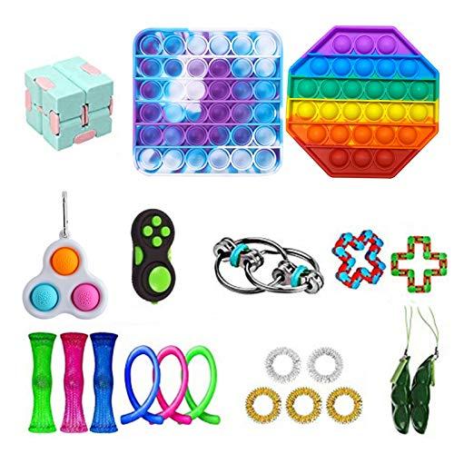 Mxiqqpltky Juego de 21 juguetes sensoriales, kits de alivio de estrés para niños adultos, regalos para fiestas de cumpleaños, bolsas de Navidad, premios para el aula escolar, premios de carnaval (F)