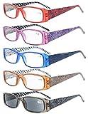 Eyekepper 5 Paia Occhiali da Lettura Aste Reticolo di Fiore per Donne Occhiali Presbite in Plastica Include uno Lenti Grigio per Sole Colore Misti Diottria +1.50
