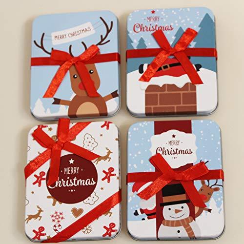 KAMACA 4er Set Geschenkschachtel für Geldgeschenke kleine Geschenke Präsente Geschenkverpackung Geld Gutschein Weihnachten (4er Set Metall Geschenkdose)