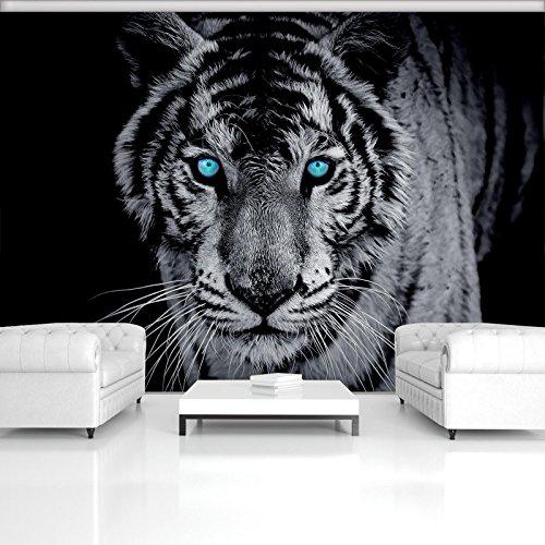FORWALL Fototapete Vlies - Tapete Moderne Wanddeko Majestätischer Tiger VEXXXL (416cm. x 254cm.) AMF153VEXXXL Wandtapete Design Tapete Wohnzimmer Schlafzimmer