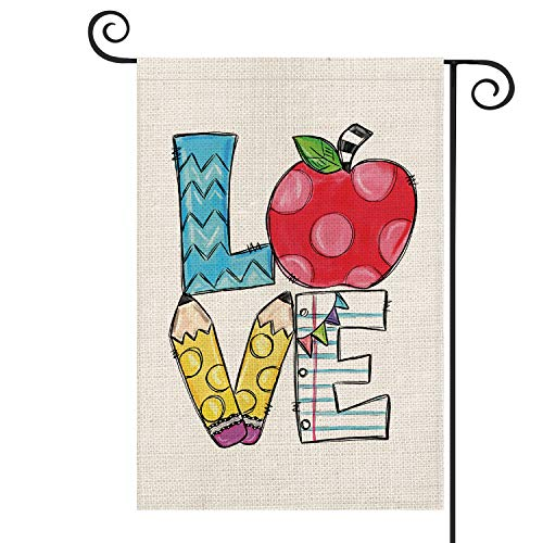 AVOIN Love Hand Drawn Apple Pencil Teacher Garden Flag Double Sided, First Day of School Back to School Yard Outdoor Decoration 12.5 x 18 Inch