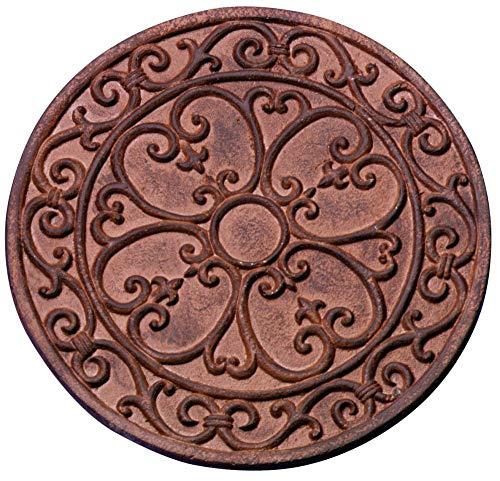Esschert Design Gehwegplatte, Gartenfliese, Trittplatte, Terrassenplatte Motiv Klassik, rund, ca. Ø 30 cm x 1,2 cm Höhe