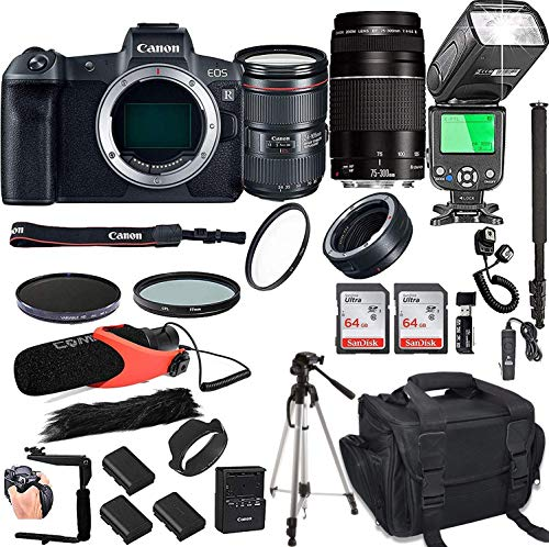 Best Price Canon EOS R with 24-105mm f/4 L is II USM + 75-300mm III Lenses + 128GB Memory + Camera B...