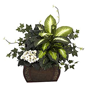 Nearly Natural African Violet, Dieffenbachia & IvyWith Chest Silk Plant Green