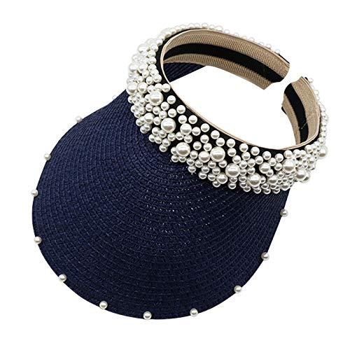 Vobery Diadema de perlas para mujer, con protección solar, para el sol, hueca, color azul marino