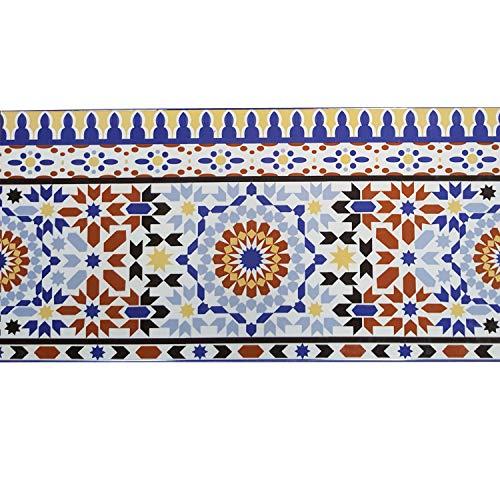 Casa Moro Orientalische Fliesen-Bordüre Kenitra 50x25 cm aus Marokko mit Mosaik-Muster | Schöne Wandfliese im Bad Flur & Küche | FL7286