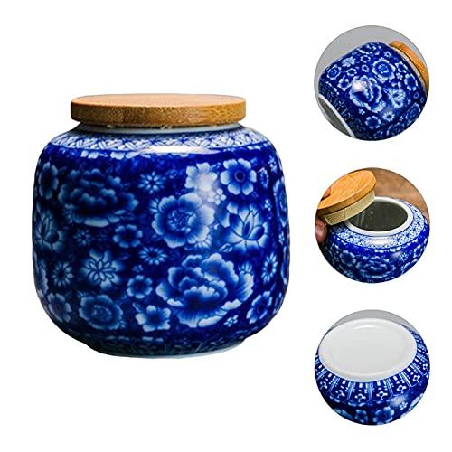ONETOTOP El té de cerámica Puede sellar el Recipiente del té del té portátil con Tapa de Madera (Color : Blue, Size : 230ml)