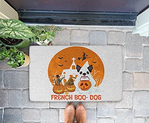 Halloween Doormat - French Boo Dog 24x16 Inch Outdoor Front Door Mat Kitchen Mat for Floor Welcome Home