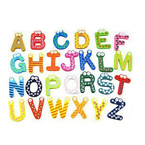 DONGMAISM Imán de refrigerador Regalo de Fiesta Decoración para el hogar Multicolor de Madera Frigorífico Imán Símbolo de Juguete Números de Alfabeto Dibujos Animados Baby Kid (Color : 26pcs)