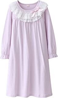 DGAGA Kids Girls Cotton Lace Nightgown Long Sleeve Solid Sleepwear Top Dresses