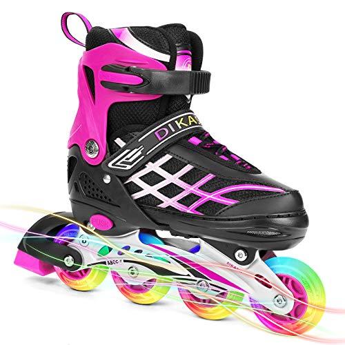 Rollschuhe Inline Skates Rollerbaldes Kinder Jungen Mädchen Einstellbare Rollschuhe Mit Leucht PU Räder Dreifach Schutz Inline Skates Inliner Geschenk für Kinder (ROSA, S)