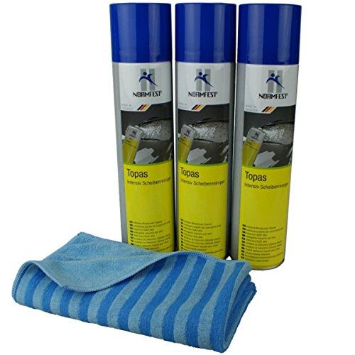 Normfest Topas Scheibenreinigungsschaum 3x 400 ml inkl DFT Glastuch blau