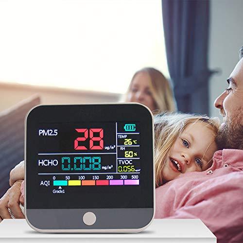 KKTECT Monitor de calidad del aire Analizador de formaldehído PM2.5 HCHO TVOC AQI Interior Sensor de temperatura y humedad Probador de precisión de medidor de polvo ultrafino (7 en 1)
