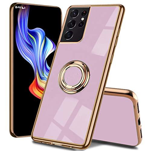 Funda compatible con Samsung Galaxy S21 5G, delgada, suave y resistente a los golpes, protección para soporte magnético de coche, color oro rosado