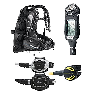 Oceanic Professional Scuba Diving Package Excursion BCD ProPlus 3, Zeo Regulator, Alpha 8 Octo (White Zeo Regulator, SM)