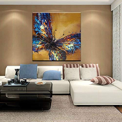XIAOXINYUAN Pinturas Al Pintura Al Óleo Pintado A Mano 100% Hermosa Mariposa Animales Modernos Cuadros De Pared para El Salón De Arte De Pared De 80×80Cm.