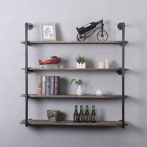 Industrial Pipe Shelving Wall Mounted48in Rustic Metal Floating ShelvesSteampunk Real Wood Book ShelvesWall Shelf Unit Bookshelf Hanging Wall ShelvesFarmhouse Kitchen Bar Shelving4 Tier
