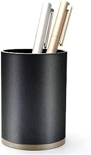 DKX Metal Pen Holder Round Aluminum Office Supplies Stationery Business Simple Creative Desktop Storage, Black, White (Color : Black)