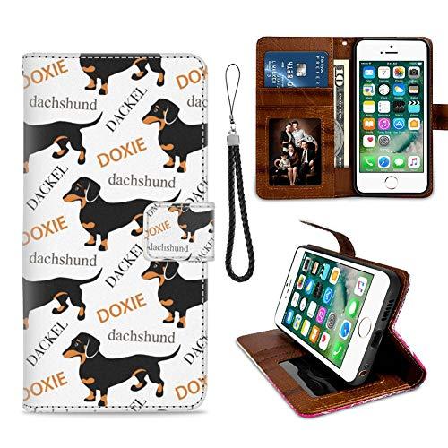 Naikuyi - Custodia a portafoglio per iPhone 6 Plus, iPhone 6S Plus, con simpatico bassotto Doxie Dog Pattern slot per carte di credito Folio flip cover cinturino da polso in pelle