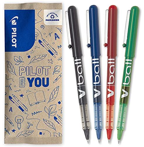 Pilot – Lote de 4 bolígrafos de tinta líquida V-Ball 05 – Negro, Azul, Rojo, Verde – Punta fina