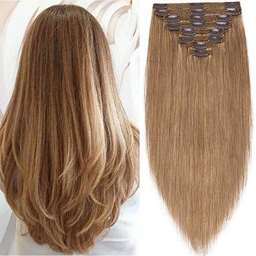 SEGO Extensions a Clips Naturel Vrai Cheveux Humains Maxi Volume Long - 45 CM 12#Brun Doré - (Maxi Epaisseur) Bande a Froid sans Loop Invisible