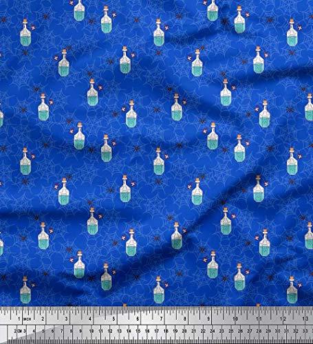 Soimoi Bleu Satin de Soie en Tissu araignée, Web et cru Bouteille Tissu a Coudre Imprime par Metre 42 Pouce Large