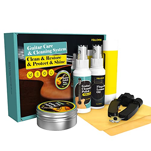 Guitar Cleaning Kit, FOLLOWIN Guitar Care System 7 Pack, Cleaner Polish, Fingerboard...