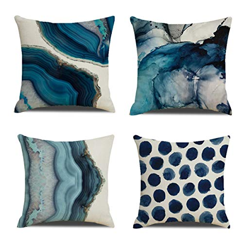 YCHZ Navy Blue Throw Pillow Covers Set of 4 Decorative Pillow Covers Modern Marble Dots Sea Texture Cushion Covers 18 x 18 inch Linen Pillow Covers Cushion for Sofa Bedroom Car,Home Decor (Marble)