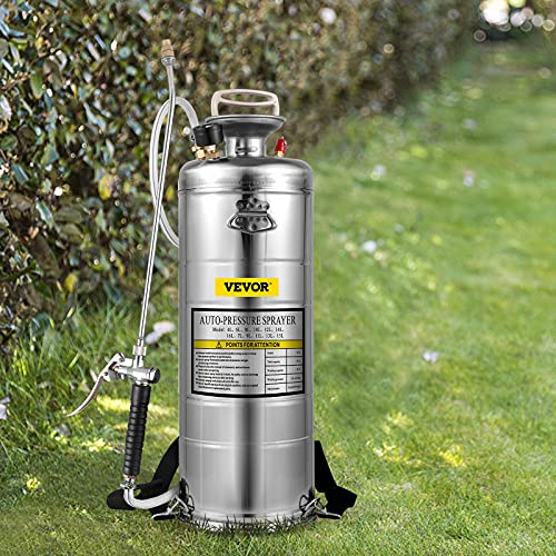 Happybuy 3.5Gal Stainless Steel Sprayer,l Set with 20'' Wand& Handle& 3FT Reinforced Hose, Hand Pump Sprayer with Pressure Gauge&Safety Valve, Adjustable Nozzle Suitable for Gardening& Sanitizing