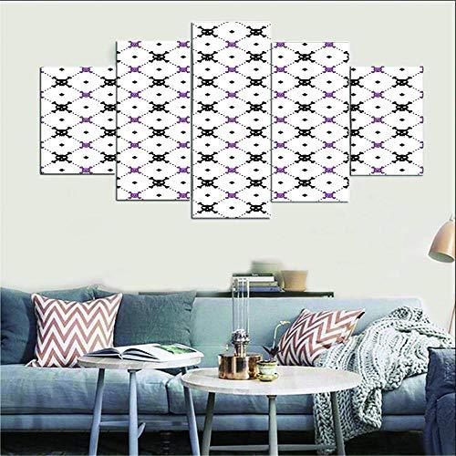 AHJJK Impresión en Lienzo de 5 Paneles Estilo Simple Blanco Fondo Calavera para decoración del hogar Sala de Estar 5 Paneles Gran póster de impresión HD (sin Marco) XL(150x80cm)