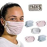 tapidecor Pack 5 Mascarillas Tela Lavables Reutilizables 3 Capas Algodón Rayas Doble Ajuste Elástico