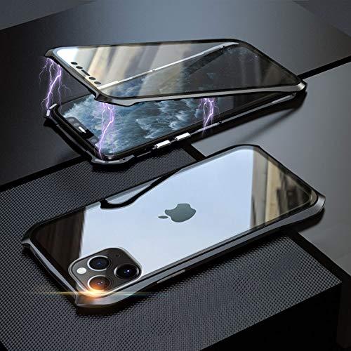 Coopts Für iPhone 11 Pro Max Glas Displayschutzfolie Hülle, Vorne und Hinten 9H Gehärtetes Glas Schutz mit Metallrahmen Anti-Scratch Stoßdämpfung Abdeckung für iPhone 11 Pro Max 6.5 Zoll 2019, Schwarz