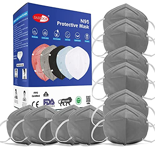 Sassoon Original masks for face N95 Washable Protective Mask without Respirator, Can be Use as Pollution Mask & Face Mask, Protective Layer Mask, Color - Grey (Pack Of 10)