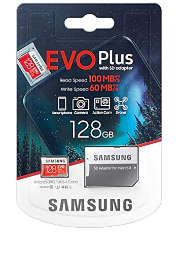 Samsung MicroSDXC EVO Plus Memory Card w/ Adapter 128 GB New Latest Version Memory Card Launched In 2020,Includes full size adapter for use in cameras, laptops, and desktop computers,latest 4K UHD video-enabled smartphones, tablets, and Action cameras & Dron