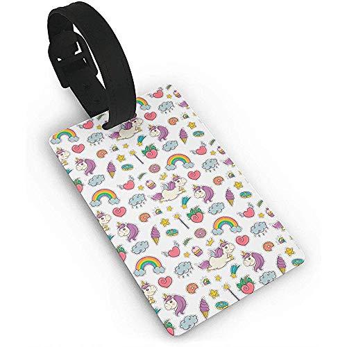Carneg PVC Gepäckanhänger, Zauberstab Einhorn Regenbogen Süßigkeiten EIS Gepäckanhänger Kofferanhänger Reisezubehör Kofferetiketten Tasche