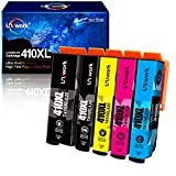 Uniwork Remanufactured Ink Cartridge Replacement for Epson 410XL 410 XL T410XL use for Expression XP-830 XP-640 XP-7100 XP-630 XP-530 XP-635 Printer (Latest Upgraded Chip, 5 Pack)