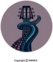 3D Printed Modern No-Shedding Non-Slip Rugs,Octopus Tentacle is Holding Guitar Riff Musical Instrument Rock and Roll Modern Artwork 2' Diameter Teal Coral,Machine Washable Round Bath Mat