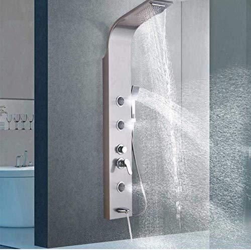 Luxus Duscharmatur Säule Nickel gebürstet Wasserfall Duschpaneel Wasserfall Regenduschkopf Körpermassage Jet Schwenkauslauf
