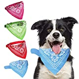 HACRAHO Pañuelos para perro, 4 unidades, con correa ajustable, lavable, para perros pequeños, medianos, rojo, verde, rosa rojo, azul cielo, M