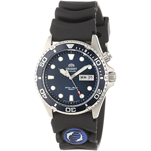 Orient Ray Blue Dial 21-Jewel Automatic Dive Watch on Rubber Strap EM6500CD
