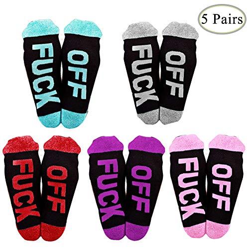 Danolt 5 Pairs Unisex Socken Fuck Off Bunten Brief Stricken Socken Unisex Lange Crew Socken Geschenk Für Männer Frauen Party Halloween Weihnachten.