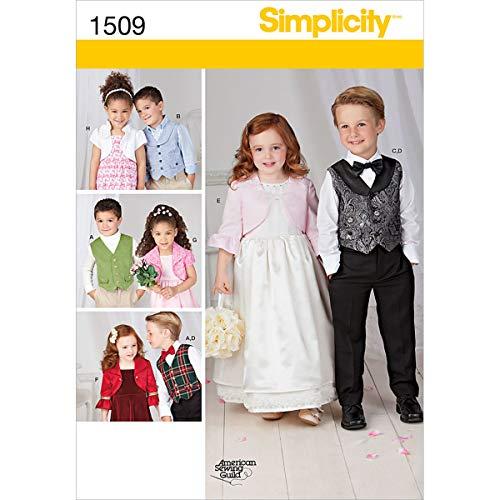 Simplicity us1509 a maat een kind 's vest/Bolero en vlinderdas
