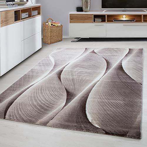 Ayyildiz Teppich-Teppich modern Designer Wohnzimmer 3D Baum Wellen Optik ,  Polypropylen, Braun, 200 X 290
