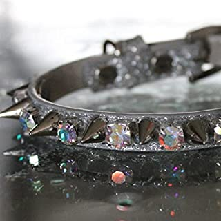 Rockstar TM - Aurora Iridescent Rhinestone Spiked Collar - Liberace Inspired Cat Jewelry Collar Necklace - XXS, XS, S, M