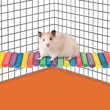Pssopp Pont Suspendu pour Animaux de Compagnie, Petit Pont en Bois pour Petit Animal Animaux de Compagnie, échelle, Perroquet, Hamster, coloré, Escalade, Doux, Oiseaux, échelle, Jouet(L)