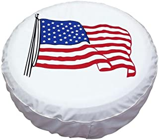 Tsofu Spare Tire Cover PVC Leather Waterproof Dust-Proof Universal Spare Wheel Tire Cover White Star Fit for Jeep,Trailer, RV, SUV and Many Vehicle(14